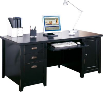 Martin Furniture Tribeca Loft Double Pedestal Computer Desk