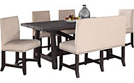 Modus Furniture Yosemite Table, 4 Upholstered Chiars & 1 Bench