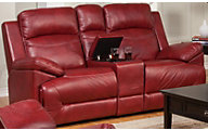 New Classic Cortez Red Reclining Loveseat with Console