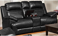 New Classic Cortez Black Power Reclining Loveseat with Console