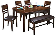 New Classic Latitudes Chestnut 6-Piece Dining Set