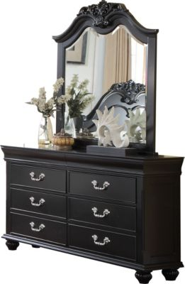 New Classic Jaquelyn Black Dresser with Mirror
