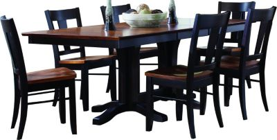 Palettes Double Pedestal Table & 6 Bakersfield Chairs