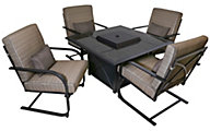Patio Logic Revere Outdoor Firepit & 4 Spring Patio Chairs