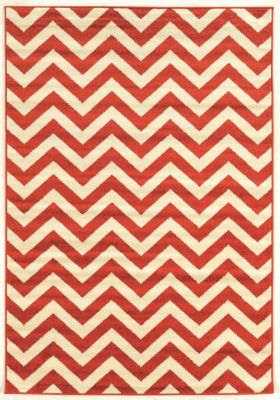 Powell Claremont Red Chevron 5' x 7'