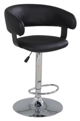Powell Black Barrel-Back Bar Stool
