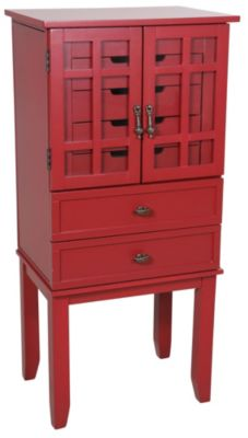 Powell Red Mirrored Jewelry Armoire