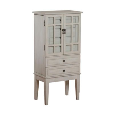 Powell White Mirrored Jewelry Armoire