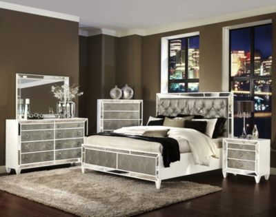 Magnussen Monroe 4-Piece King Mirrored Bedroom Set