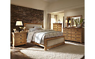 Progressive Willow Pine 4-Piece Queen Upholstered Bedroom Set