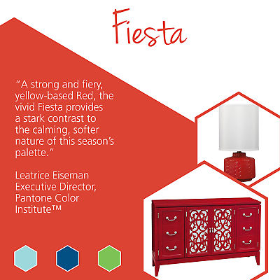 Update your home with stylish home goods featuring Pantone spring colors like Fiesta.