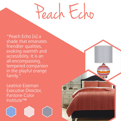 Update your home with stylish home goods featuring Pantone spring colors like Peach Echo.