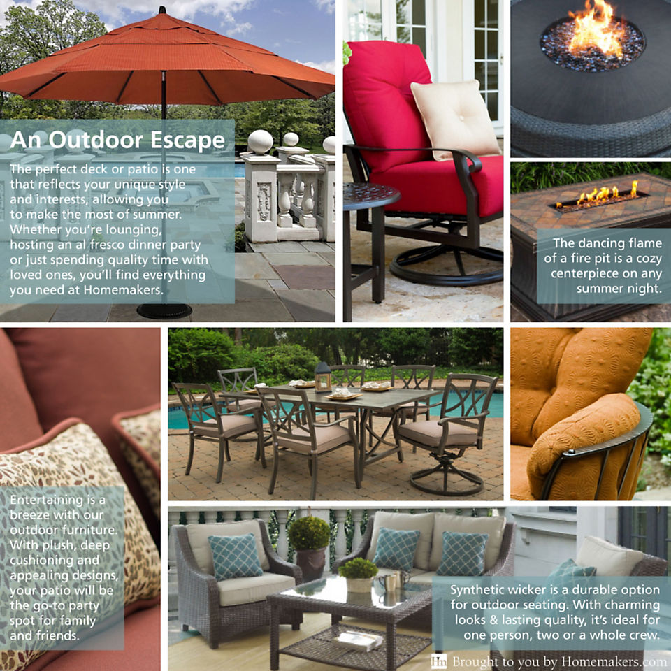 It's easy to transform a deck or patio with an outdoor fire pit, comfortable wicker furniture and an outdoor dining set.