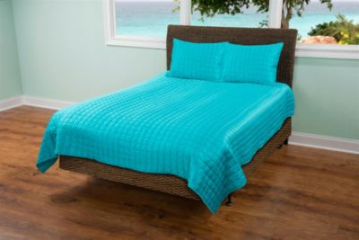 Rizzy Aqua Satin 2-Piece Twin Coverlet Set