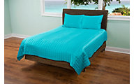 Rizzy Aqua Satin 3-Piece Full/Queen Coverlet Set