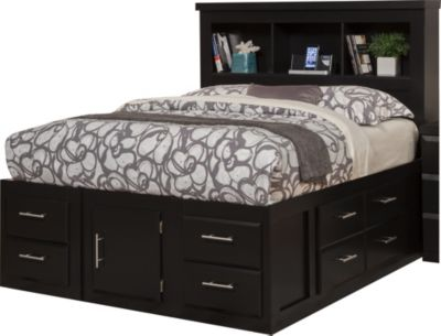 Sandberg Furniture Serenity Queen Bookcase Storage Bed