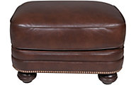 Smith Brothers 311 Collection Brown 100% Leather Ottoman