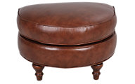 Smith Brothers 346 Collection 100% Leather Ottoman