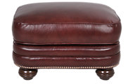 Smith Brothers 988 Collection 100% Leather Ottoman