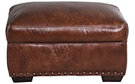 Simon Li J350 Collection 100% Leather Ottoman with Nailhead