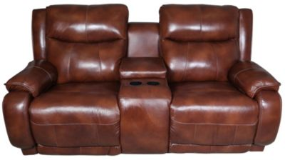 Southern Motion Velocity Leather Reclining Loveseat with Console