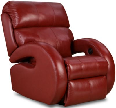 Southern Motion Zoom Cherry Leather Power Rocker Recliner