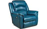 Southern Motion Max Blue Leather Power Rocker Recliner