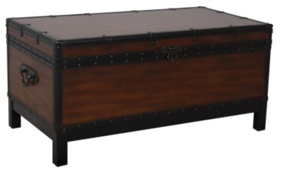 Steve silver voyage trunk coffee table homemakers furniture Silver trunk coffee table