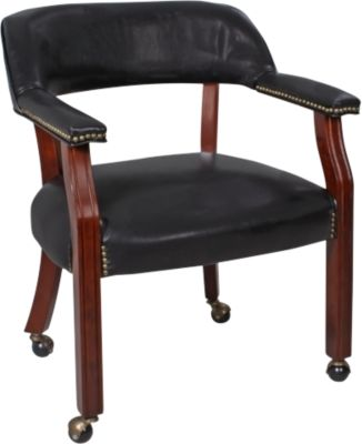 Steve Silver Tournament Black Caster Arm Chair