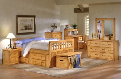 Trend Wood Bunkhouse Solid Pine Full Storage Bed Homemakers Furniture