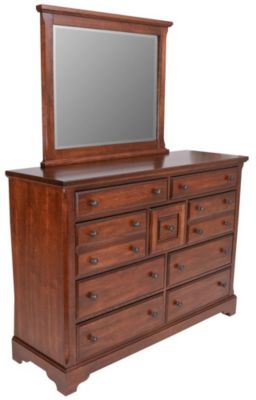 Vaughan Bassett Furniture Rustic Cherry Villa Dresser with Mirror