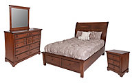 Vaughan Bassett Furniture Rustic Cherry 4-Piece King Storage Bedroom Set