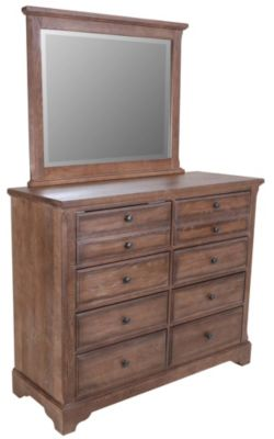Vaughan Bassett Furniture Dark Oak Villa Media Dresser with Mirror