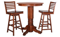 Woodco 36 Collection Solid Oak Pub Table & 2 Stools