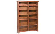 Whittier Wood McKenzie 12-Shelf 50.5-Inch Cherry Bookcase