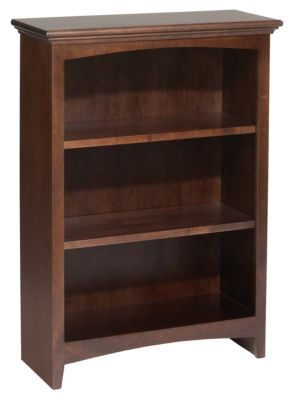 Whittier Wood McKenzie 3-Shelf 26.5-Inch Coffee Bookcase