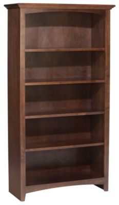 Whittier Wood McKenzie 5-Shelf 32.5-Inch Coffee Bookcase