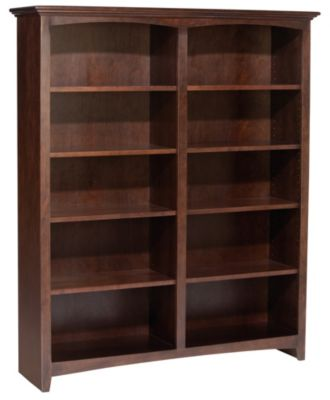 Whittier Wood McKenzie 10-Shelf 50.5-Inch Cherry Bookcase