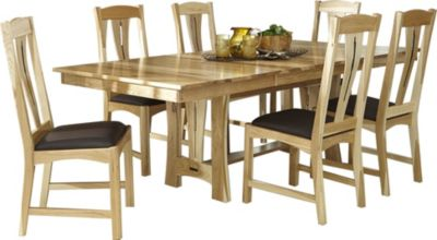 A America Cattail Bungalow Natural Trestle Table & 6 Chairs