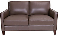Amax Leather New Haven 100% Leather Taupe Loveseat