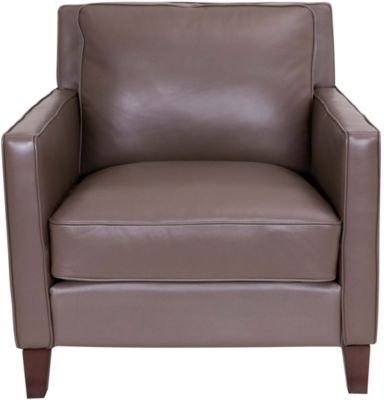 Amax Leather New Haven 100% Leather Taupe Chair