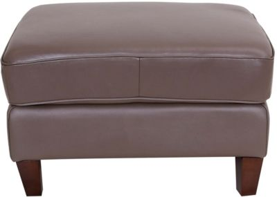 Amax Leather New Haven 100% Leather Taupe Ottoman
