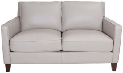 Amax Leather New Haven 100% Leather Gray Loveseat