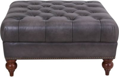 Amax Leather Manchester 100% Leather Square Cocktail Ottoman