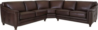 Amax Leather Billingham 100% Leather 3-Piece Sectional