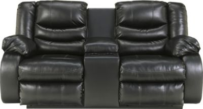 Ashley Linebacker Black Reclining Loveseat with Console