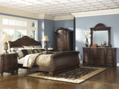 Ashley North Shore 4 Piece Queen Sleigh Bedroom Set Homemakers