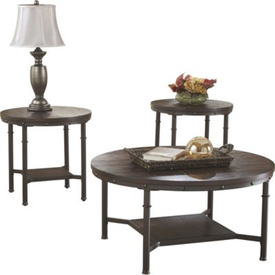 Ashley Sandling Coffee Table and 2 End Tables