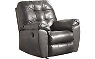 Ashley Alliston Gray Bonded Leather Rocker Recliner