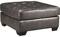 Ashley Alliston Gray Bonded Leather Ottoman